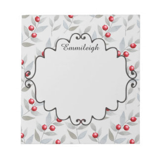 Personalized Red Berries and Gray Leaves Notepad