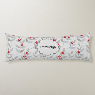 Personalized Red Berries Gray Leaves Body Pillow