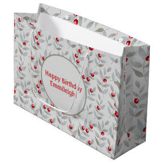 Personalized Red Berries on Gray Large Gift Bag