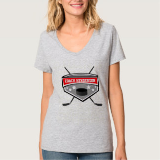 Personalized Red, Black and White Hockey coach T-Shirt