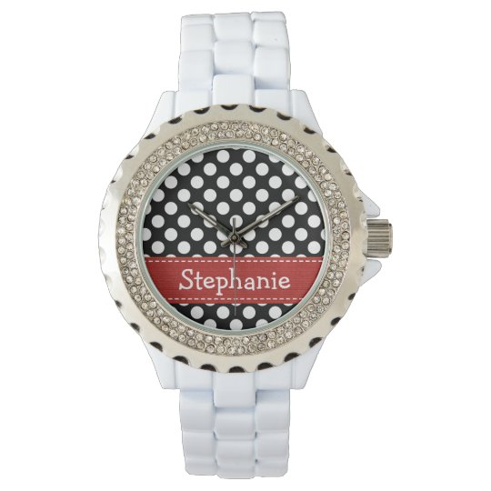 Personalized Red Black and White Polka Dot Wrist Watch