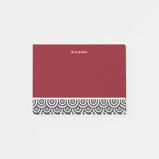 Personalized Red Black and White Retro Post-it Notes