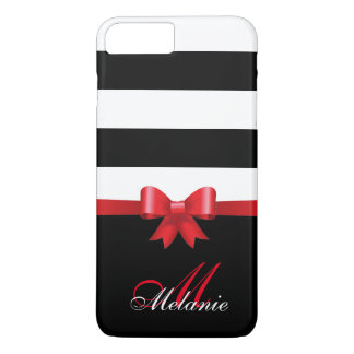 Personalized RED, Black Bold Stripes RED BOW Case-Mate iPhone Case