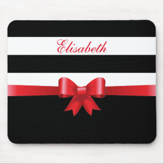 Personalized RED, Black Bold Stripes RED BOW Mouse Pad