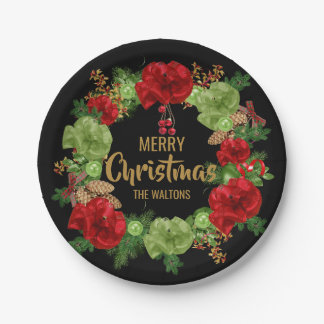 Personalized RED Black Gold MERRY CHRISTMAS Wreath Paper Plate