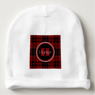 Personalized Red & Black Plaid Baby Beanie