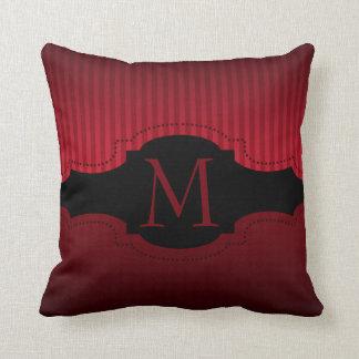 Personalized Red Black Stripes Pattern Monogram Throw Pillow