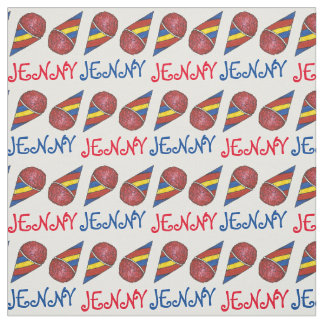 Personalized Red Blue Snocone Snow Cone Fabric