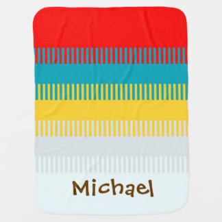 Personalized Red Blue Yellow White Gray Cute Baby Blanket