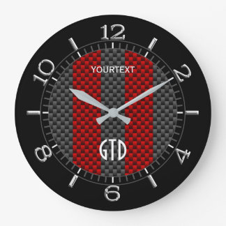 Personalized Red Carbon Style Racing Stripes on a Large Clock