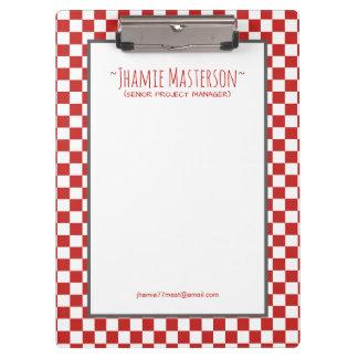 Personalized Red Checker Clipboard