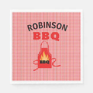 Personalized Red Checkered With Apron Paper Napkin