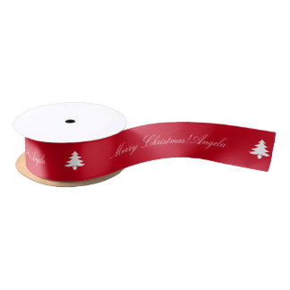 Personalized red Christmas ribbon with Xmas tree Satin Ribbon