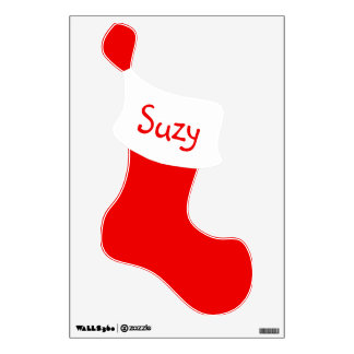 Personalized Red Christmas Stocking Wall Decal