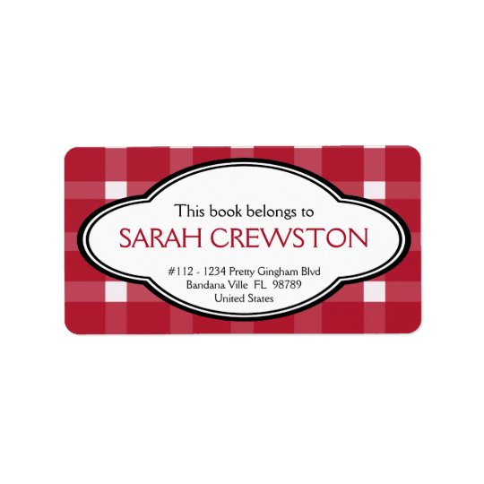 Personalized Red Country Gingham Print Bookplate Label