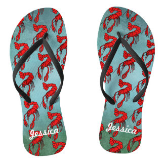 Personalized Red Crawfish Flip Flops