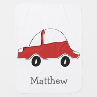 Personalized red doodle toy car stroller blanket