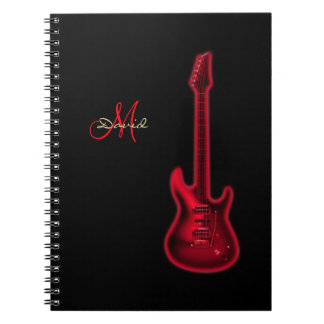 Personalized Red Electric Guitar Music Notebook