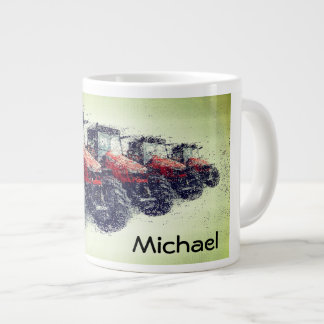 Personalized Red Farm Tractors in a Row Giant Coffee Mug