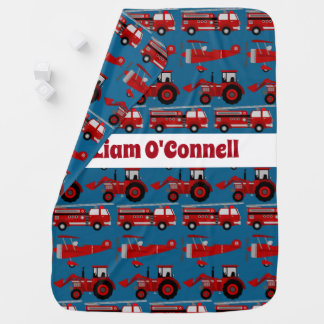 Personalized Red Fire Truck, Tractor & Plane Baby Blanket