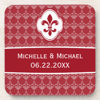 Personalized Red Fleur de Lis Chain Pattern Drink Coaster