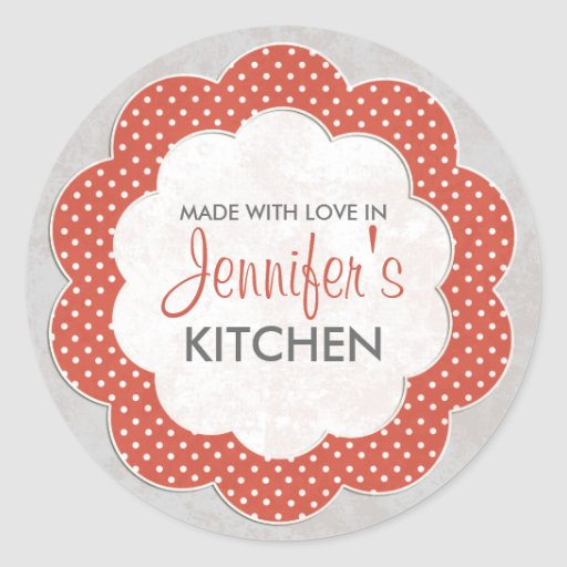 Personalized Red Floral Dot Canning Stickers