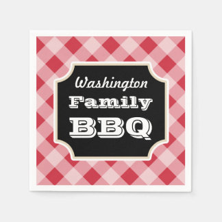 Personalized Red Gingham Family BBQ Party Napkins Paper Napkins