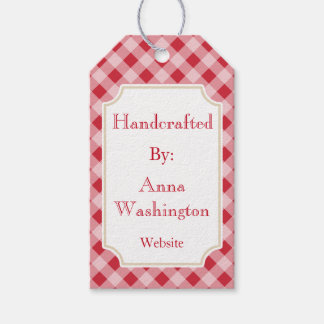 Personalized Red Gingham Handcrafted Tag Pack Of Gift Tags