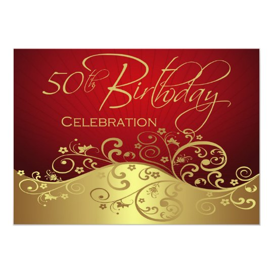 Personalized Red Amp Gold 50th Birthday Invitations Zazzle Ca