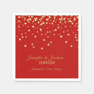 Personalized RED Gold Confetti Wedding Disposable Napkins