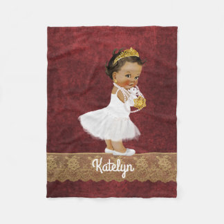 Personalized Red Gold Ethnic Princess Nursery Fleece Blanket