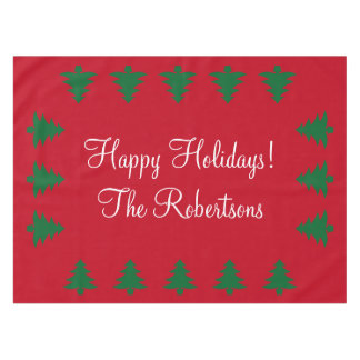 Personalized red green Christmas tree tablecloth