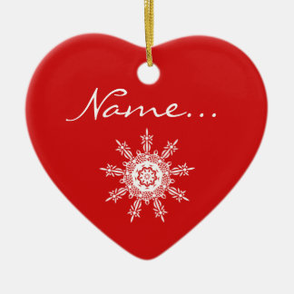 Personalized Red Heart Shaped Christmas Ornament