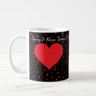 Personalized red heart Valentine's Day coffee mug