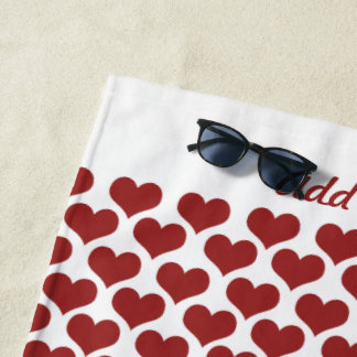 Personalized Red Hearts Beach Towel