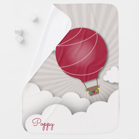 Personalized Red Hot Air Balloon Baby Blanket