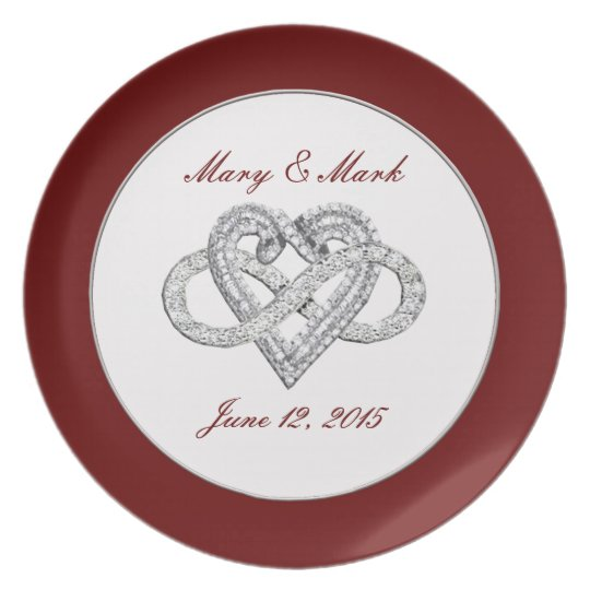"""Personalized Red Infinity Heart 10"""" Melamine Plate"""