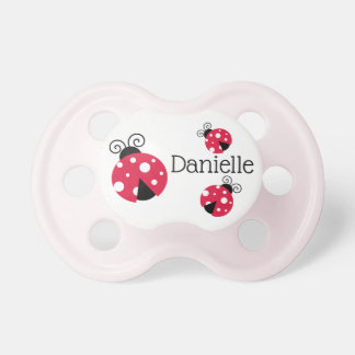 Personalized Red Ladybug Baby Girl Pacifier