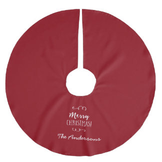Personalized Red Merry Christmas Brushed Polyester Tree Skirt