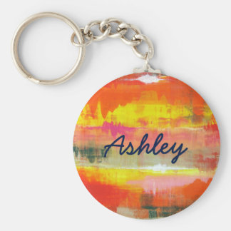 Personalized Red Orange Yellow Abstract Art Keychain
