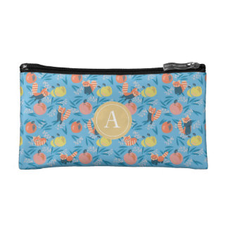 Personalized 'Red Panda' Blue Apple Cosmetic Bag