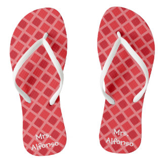 Personalized Red Patterned Teacher  Flip Flops