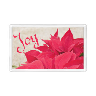 Personalized Red Poinsettia Leaf Acrylic Tray