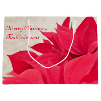 Personalized Red Poinsettia Leaf Large Gift Bag