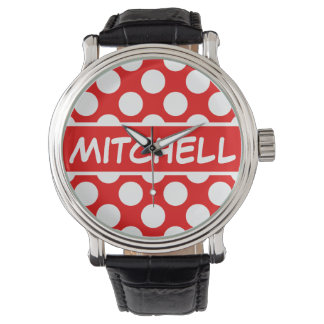 Personalized Red Polka Dot CP Watch