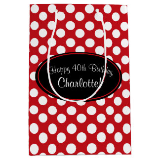 Personalized Red Polka Dot Gift Bag