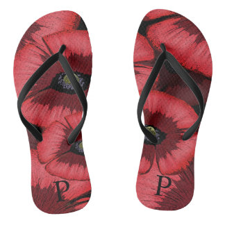 Personalized Red Poppy Flip Flops