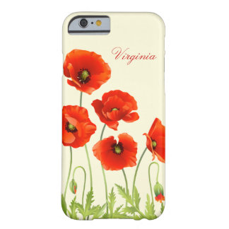 Personalized Red Poppy Flowers iPhone 6 case