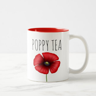 Personalized Red Poppy Tea Two-Tone Mug