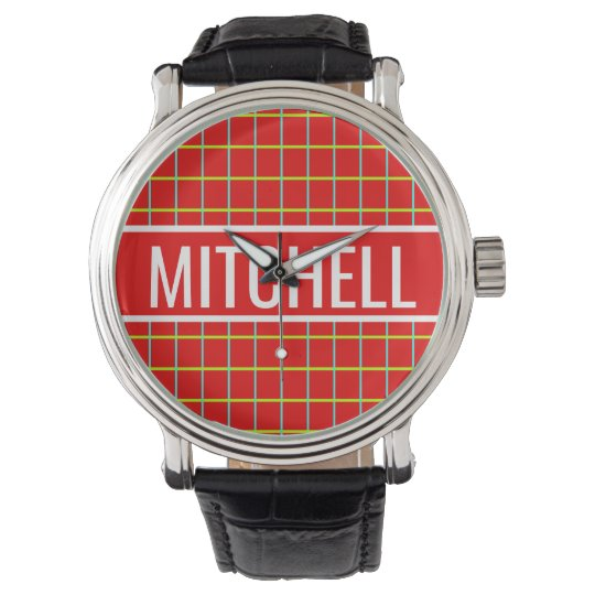 Personalized Red Retro Grid Wrist Watches